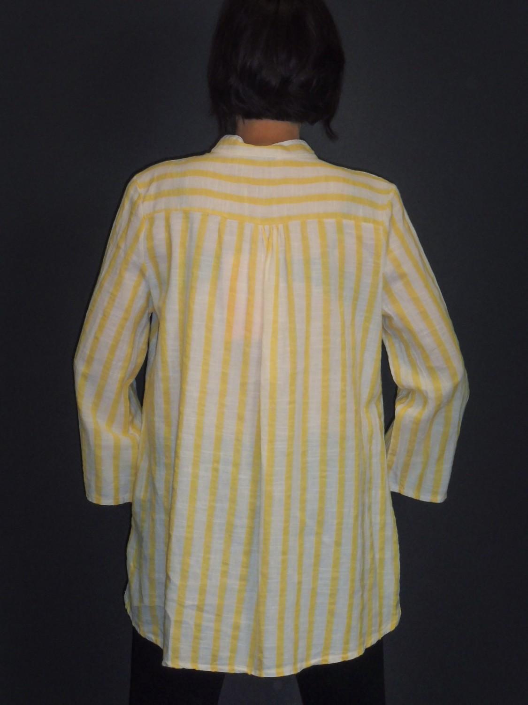 DÁMSKÁ ITALSKÁ MÓDA   Přírodní košile žlutý pruh d485b5136e